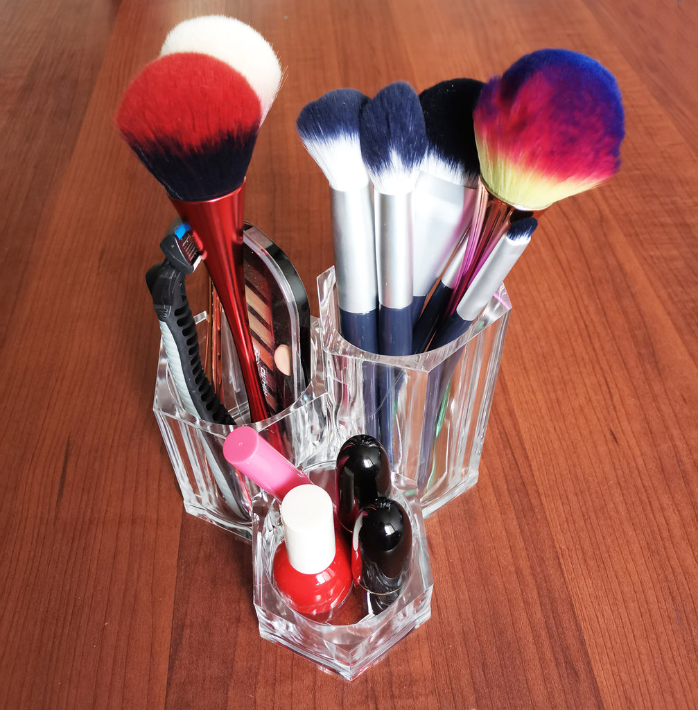 3 Slots Makeup Brush Holder Clear Acrylic Makeup Organizer Hexagon Cosmetics Display Cup Desktop Pen/Pencil Pot Holder for Office