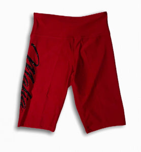 Red Mafia biker shorts