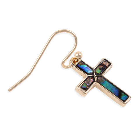Faux Abalone Cross Earrings