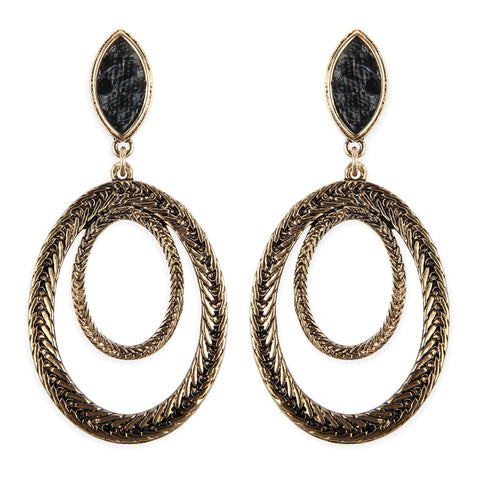 Textured 2-Layer Oval Post Earrings