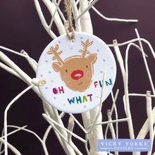 Load image into Gallery viewer, Personalised-hanging-ornament-rudolph