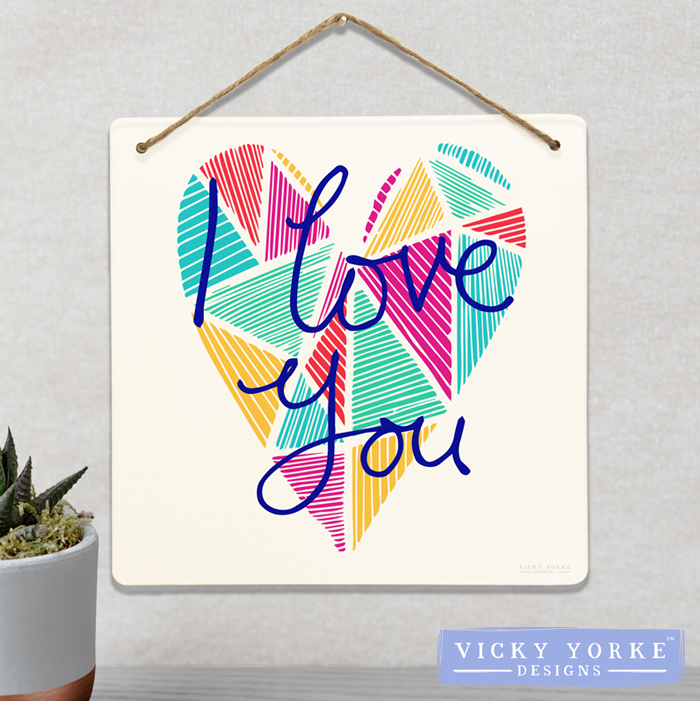 Wall Art / Metal Wall Hanging (Option To Personalise) - 'I Love You' Geometric Heart