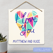 Load image into Gallery viewer, Wall Art / Metal Wall Hanging (Option To Personalise) - 'I Love You' Geometric Heart