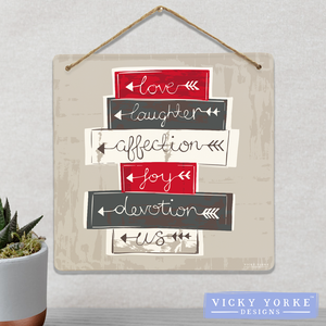 Wall Art / Metal Wall Hanging (Option To Personalise) - 'Love Laughter Affection...'