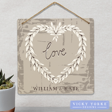 Load image into Gallery viewer, Wall Art / Metal Wall Hanging (Option To Personalise) - 'Love' Wreath