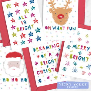 Christmas Cards Set Of 5 Cards - Merry & Bright