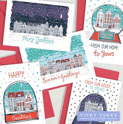 Christmas Cards Set Of 10 Cards - Winter Town