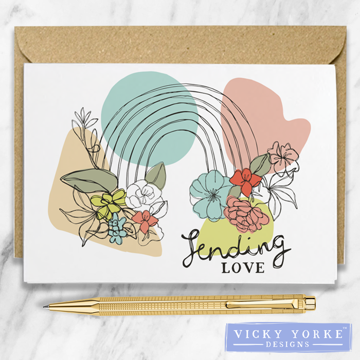 Greetings Card – Contoured Collection - 'Sending Love'