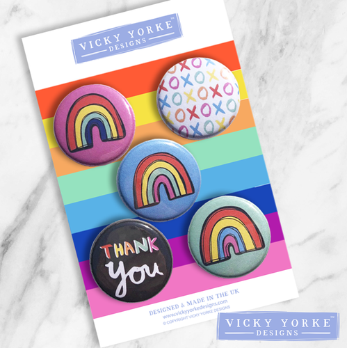 Rainbow-thank-you-badges-set