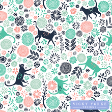 Load image into Gallery viewer, tea-towel-cats-pattern