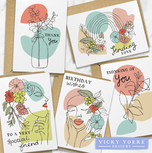 Greetings Card Set Of 5 Cards - Mixed Sentiments
