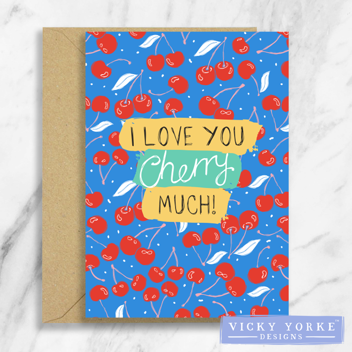 Greetings Card – Feelin' Fruity - 'I Love You Cherry Much!'