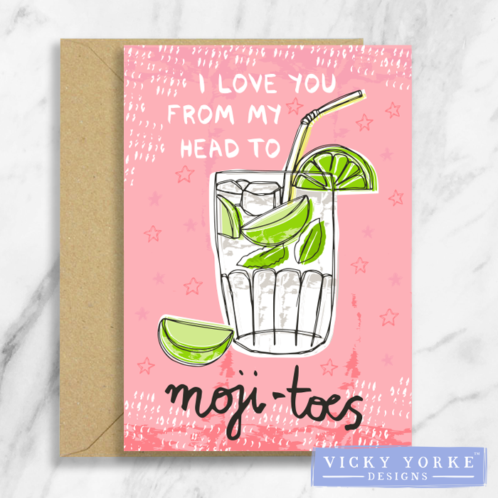 Greetings Card – Happy Hour - 'I Love You From My Head To Moji-Toes'