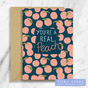 Greetings Card – Feelin' Fruity - 'You're A Real Peach'