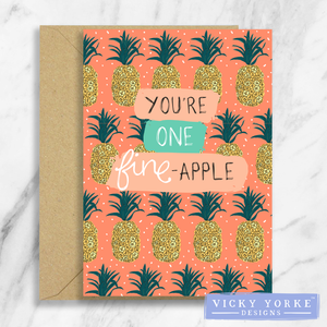 Greetings Card – Feelin' Fruity - 'You're One Fine-Apple'