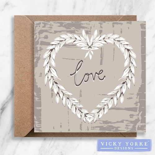 Greetings Card - 'Love' Wreath (Option to personalise)