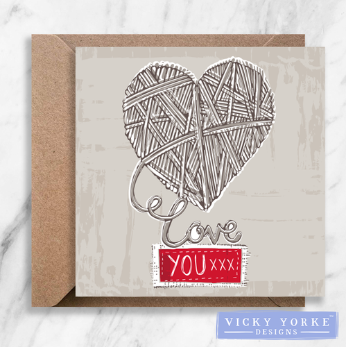 Greetings Card – 'Love You' Wool Heart (Option to personalise)