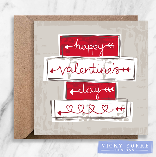 Greetings Card - 'Happy Valentine's Day'