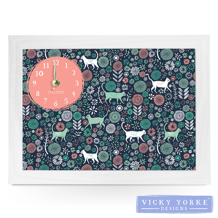 clock-cats-florals-wall-art
