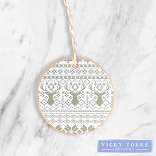 Load image into Gallery viewer, Christmas-ornament-fair-isle-green