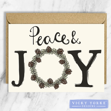 Load image into Gallery viewer, Christmas-cards-set-of-5-peace-joy