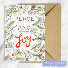Load image into Gallery viewer, Christmas-cards-pack-of-5-peace-joy