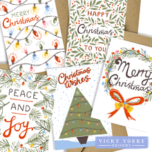 Load image into Gallery viewer, Christmas-cards-pack-of-5-vintage
