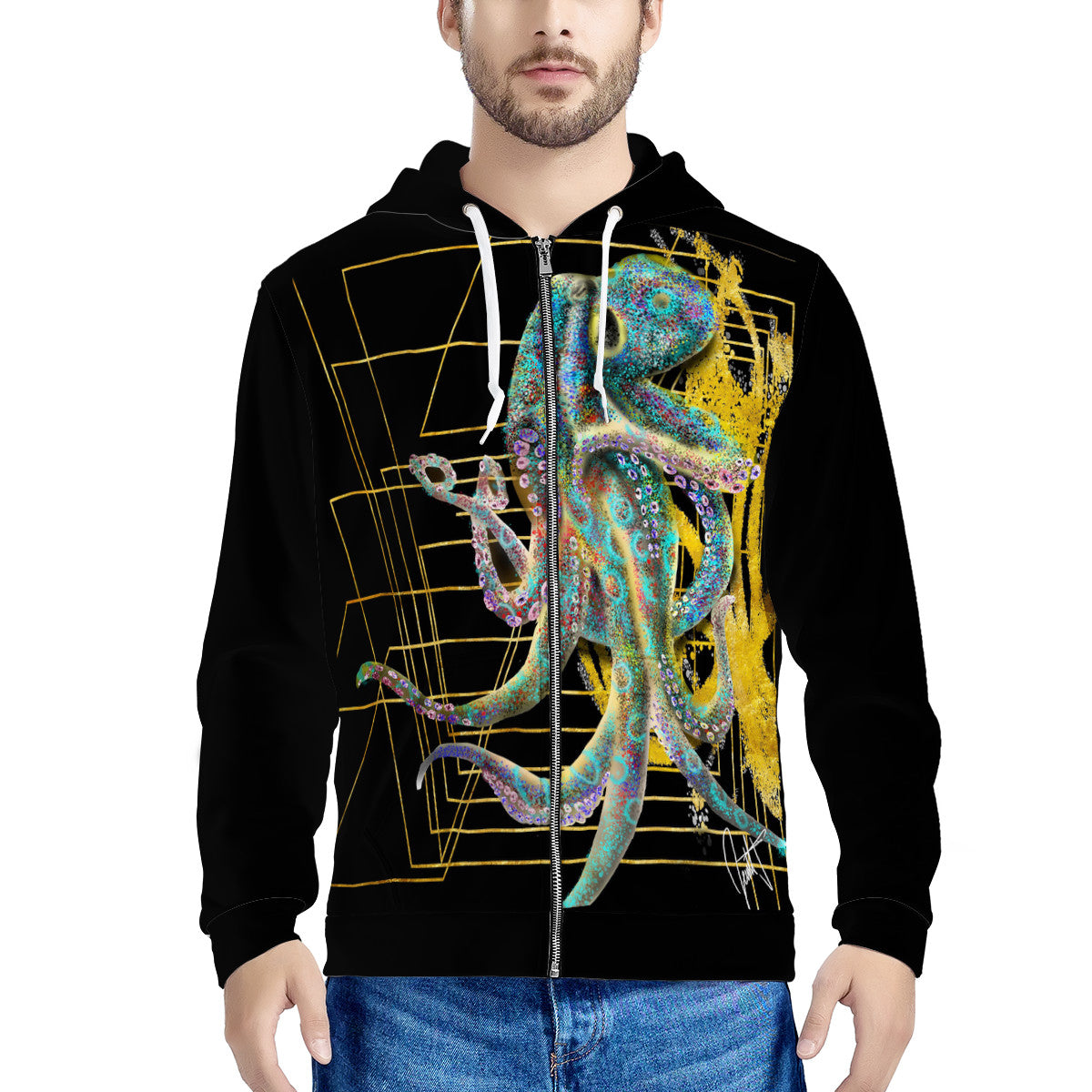 Octupus Men's All Over Print Zip Hoodie