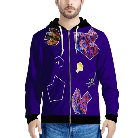 Asteroid Shun and Atin  Men's All Over Print Zip Hoodie