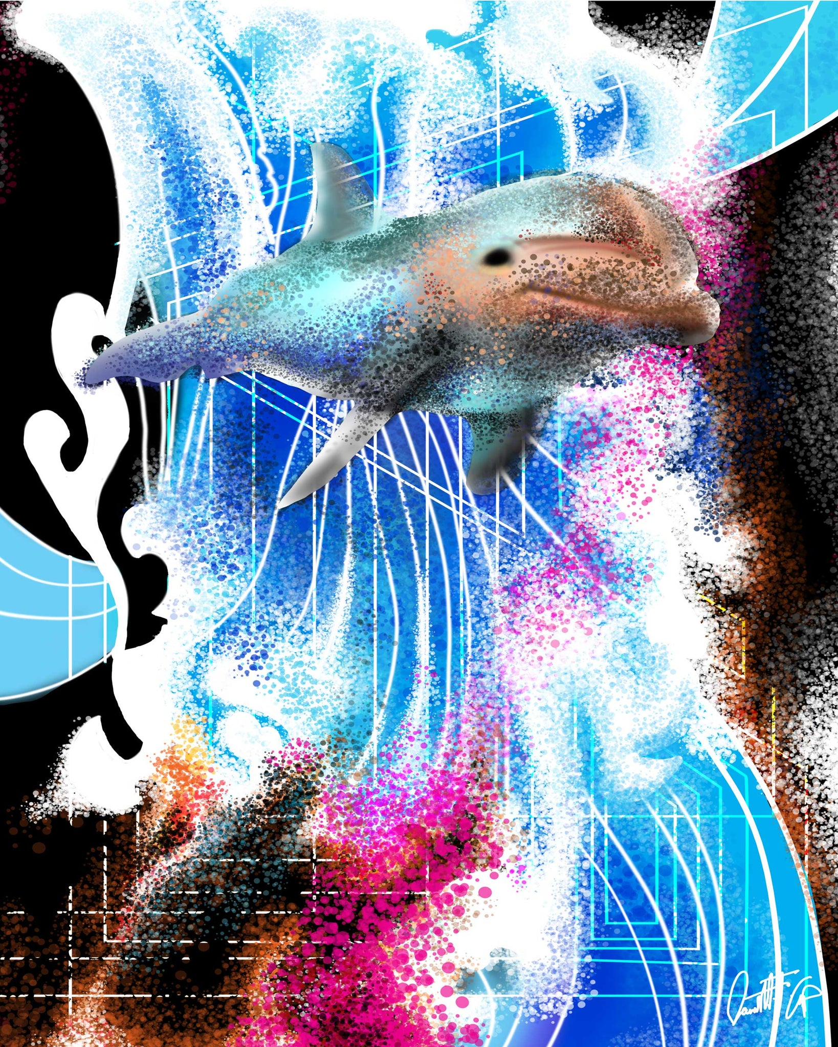 Dolphine Love GICLEE