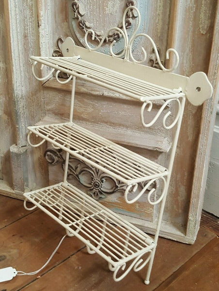 New CREAM Shabby Chic French Vintage RETRO Metal Wire 3 Shelf Kitchen Storage Wall Rack Hooks