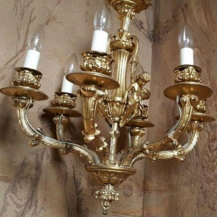 Antique Vintage FRENCH Gilt Gold BRONZE 6 Arm Ornate Ceiling Light Chandelier Lighting