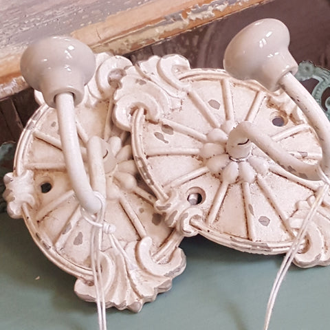 NEW French Vintage CREAM Wall Door Coat Towel HOOKS Shabby Chic Metal Rustic