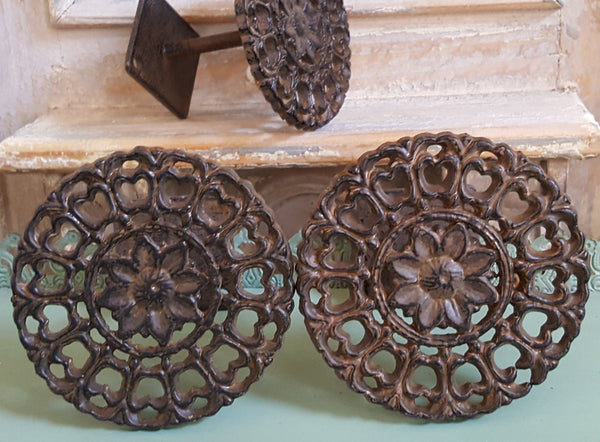 NEW French Vintage Shabby Chic Metal Cast Iron Round Rustic Curtain TIE BACK Coat Hook Finial
