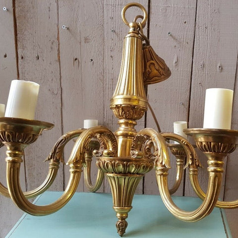 Antique Vintage FRENCH Gilt Gold BRASS 6 Arm Ornate Ceiling Light Chandelier Lighting