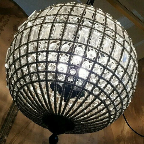 CUT GLASS Antique Vintage Large Round Ball Hall Crystal Chandelier Ceiling Light Lighting
