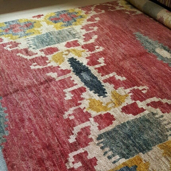 New 8x10' Large WOOL Indian Thick Pile Aztec Design HAND WOVEN Heavy Carpet Rug Runner