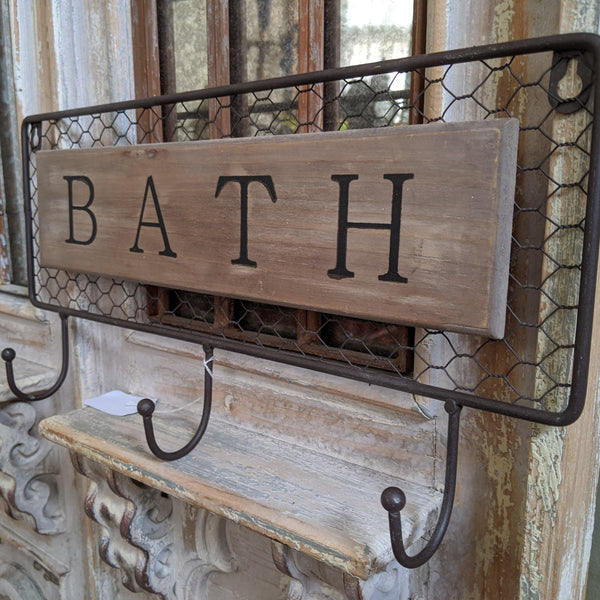 NEW Set of 3 Hooks BATH Wood Mesh Wall Coat Door French Vintage Shabby Chic Rack