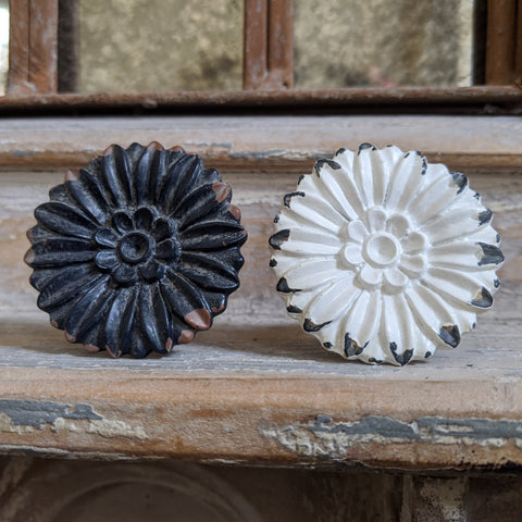 NEW French Vintage Shabby Chic Black White Metal Door Drawer KNOB Pull Handle