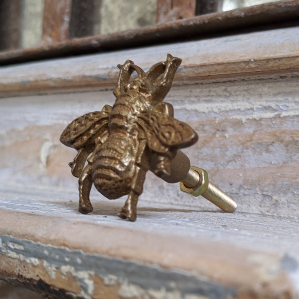 NEW French Vintage Gold Bumble BEE Shabby Chic Metal Door Drawer Knob Pull