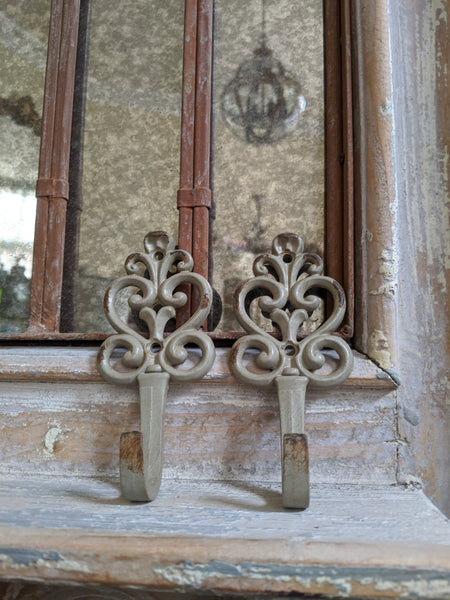 New French Vintage Shabby Chic Metal CREAM Green Rustic Wall Coat Towel Hat HOOK