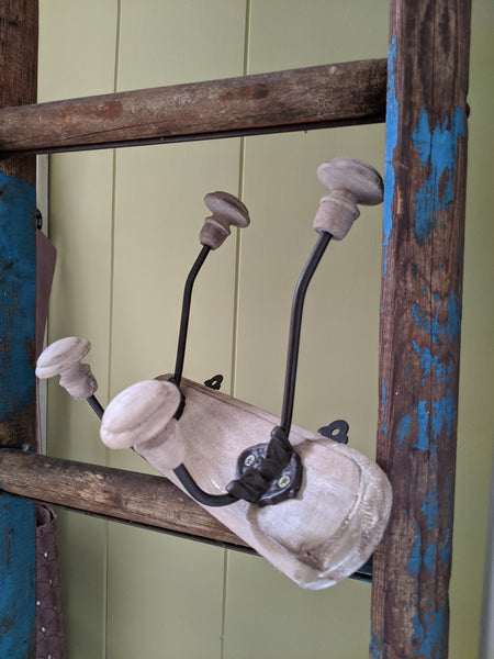 NEW Set of 2 Double Wall Coat Hat Door HOOKS French Vintage Shabby Chic Wood Rustic
