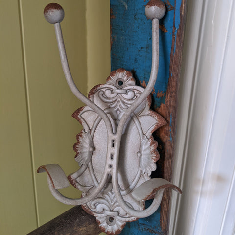 NEW Set 2/4 GREY Wall Coat Hat Door HOOKS French Vintage Shabby Chic Metal Rack