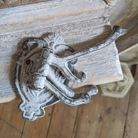 NEW French Vintage GREY 4 Wall Door Coat Towel HOOKS Rack Shabby Chic Metal