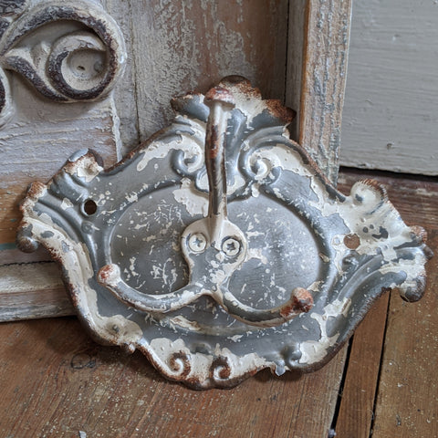 NEW French Vintage Retro GREY Wall Door Coat Towel 3 HOOKS Shabby Chic Metal