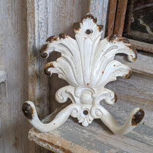 New French Vintage Shabby Chic ACANTHUS Cast IRON CREAM Rustic Wall Double Coat HOOKS Rack
