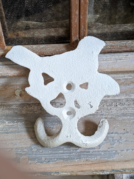 New BIRD Vintage Shabby Chic French Cast IRON CREAM Rustic Wall Coat HOOKS Rack