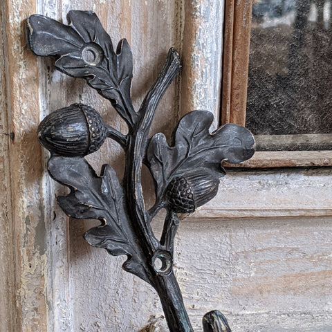 New ACORN Leaf French Vintage Shabby Chic Brass BLACK Rustic Wall Coat HOOK