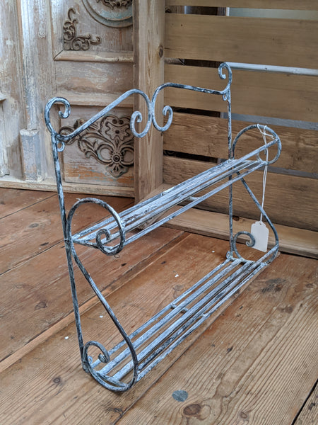 New GREY Shabby Chic French Metal 2 Shelf Spice Kitchen Bath Storage Wall Rack