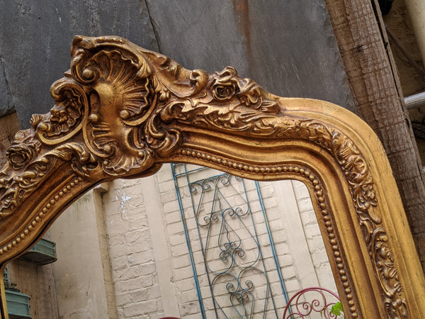 Gold Gilt French Louis Vintage Antique Style Ornate OVERMANTEL Tall Wall Frame Mirror
